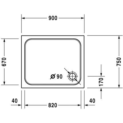 Cadita de dus dreptunghiulara Duravit D-Code 90x75cm, acril, alb