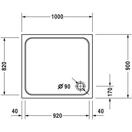 Cadita de dus dreptunghiulara Duravit D-Code 100x90cm, acril, alb