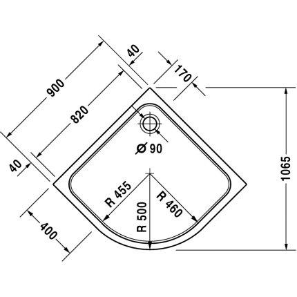 Cadita de dus semirotunda Duravit D-Code 90x90cm, acril, alb