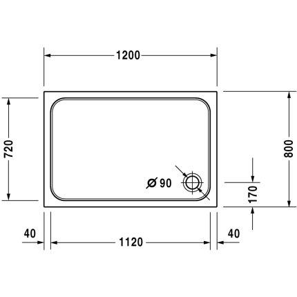 Cadita de dus dreptunghiulara Duravit D-Code 120x80cm, acril, alb