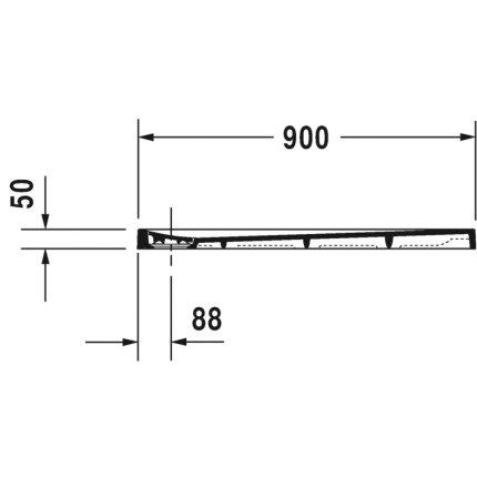 Cadita de dus dreptunghiulara Duravit Stonetto 80x90 cm, compozit antracit