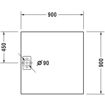 Cadita de dus dreptunghiulara Duravit Stonetto 90x90 cm, compozit antracit