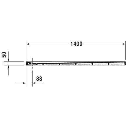 Cadita de dus dreptunghiulara Duravit Stonetto 90x140 cm, compozit alb