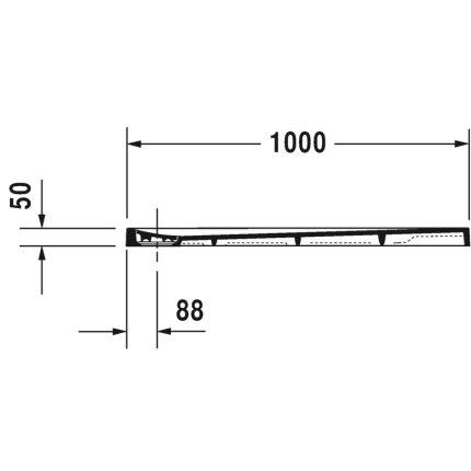 Cadita de dus dreptunghiulara Duravit Stonetto 90x100 cm, compozit alb