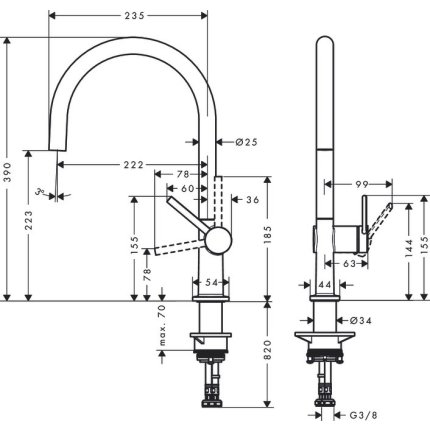 Baterie bucatarie Hansgrohe Talis M54 220, finisaj inox optic
