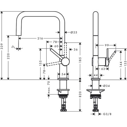 Baterie bucatarie Hansgrohe Talis M54 U 220, finisaj inox optic