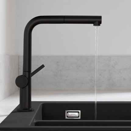 Baterie bucatarie Hansgrohe Talis M54 270 negru mat, dus extractibil si sBox