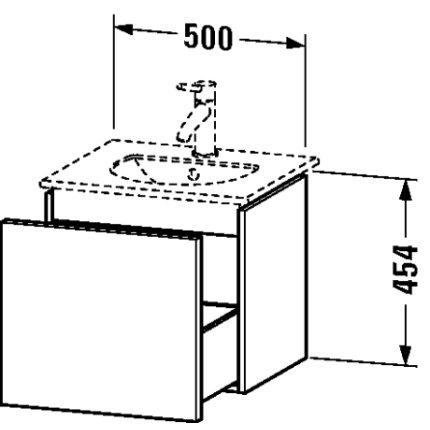 Dulap baza Duravit Delos 50x42.6cm, sertar cu inchidere lenta, alb lucios