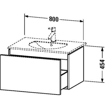 Dulap baza Duravit Delos 80x54.1cm, sertar cu inchidere lenta, grafit mat