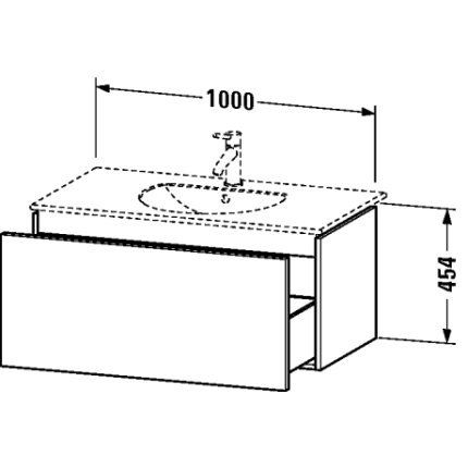 Dulap baza Duravit Delos 100x54.1cm, sertar cu inchidere lenta, grafit mat