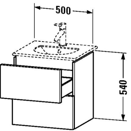 Dulap baza Duravit Delos 50x42.6cm, 2 sertare cu inchidere lenta, negru lucios lacuit