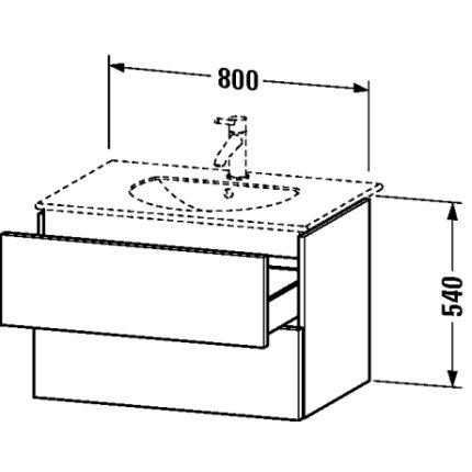 Dulap baza Duravit Delos 80x54.1cm, 2 sertare cu inchidere lenta, grafit mat