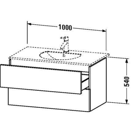 Dulap baza Duravit Delos 100x54.1cm, 2 sertare cu inchidere lenta, alb lucios