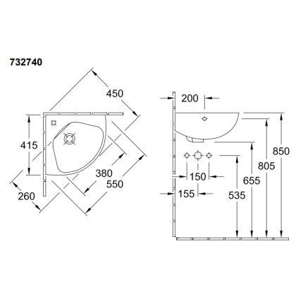 Lavoar de colt Villeroy & Boch O.Novo 41.5x41.5mm, alb alpin