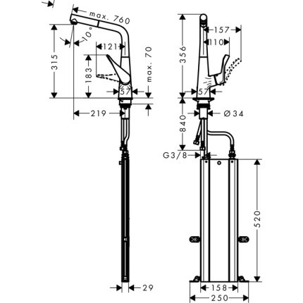 Baterie bucatarie Hansgrohe M7114-H320, ComfortZone 320, dus extractibi, crom