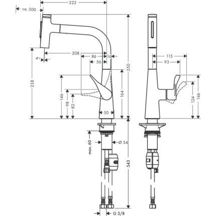 Baterie bucatarie Hansgrohe Metris Select 240 M71, dus extractibil cu doua tipuri de jet, finisaj inox