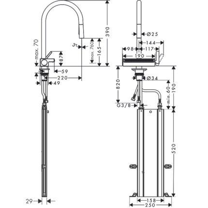 Baterie bucatarie Hansgrohe Aquno Select M81 170, dus extractibil, doua tipuri de jet, sBox si strecuratoare multifunctionala