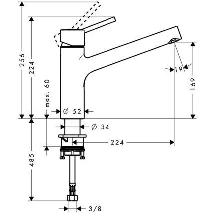 Baterie bucatarie Hansgrohe M521-H170, ComfortZone 170, pipa rotativa,  crom