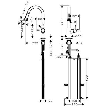 Baterie bucatarie Hansgrohe M5216-H220, ComfortZone 220, dus extractibil cu doua tipuri de jet, crom
