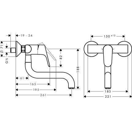 Baterie bucatarie Hansgrohe M416-W260, montare pe perete, pipa rotativa, crom