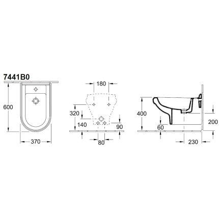Bideu suspendat Villeroy & Boch Hommage 60x37cm, CeramicPlus, Alb Alpin