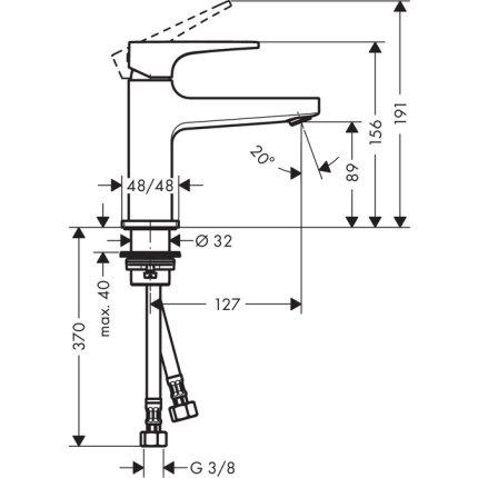 Baterie lavoar Hansgrohe Metropol 100, ventil push-open cu levier decupat, pipa 127 mm