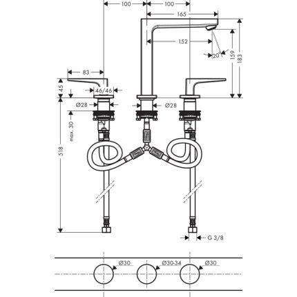 Baterie lavoar Hansgrohe Metropol 160 din 3 elemente, ventil push-open cu levier decupat