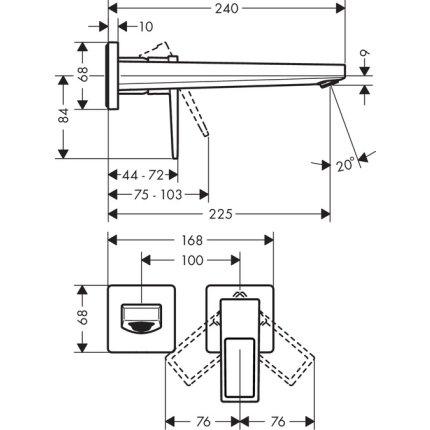 Baterie lavoar Hansgrohe Metropol de perete, pipa 225mm, fara ventil, cu levier decupat, necesita corp incastrat