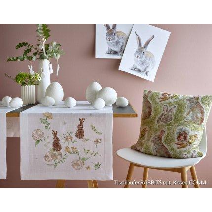 Napron Sander Embroidery Rabbits 50x140cm, 29 ecru