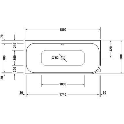 Cada asimetrica cu hidromasaj Duravit Happy D.2 Plus, 180x80 cm, acril, orientare stanga, grafit super mat