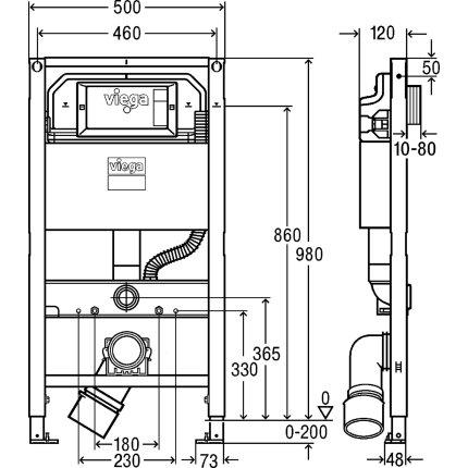 Rezervor incastrat cu cadru Viega Prevista, 12 cm grosime, h98cm