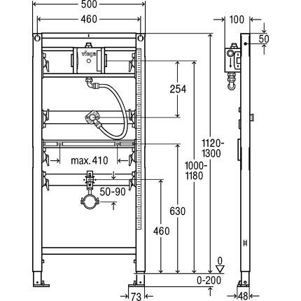 Cadru Viega Prevista pentru fixare urinal, h112-130cm