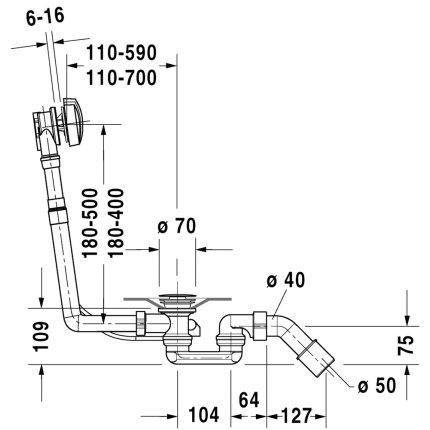 Sifon cu preaplin pentru cazi Duravit D-Code, d 52 mm, L1000 mm