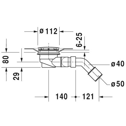 Sifon pentru cadite dus Duravit D-Code, diametru 90 mm