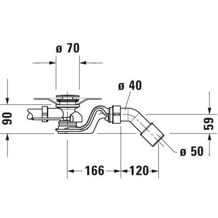 Sistem de scurgere cu preaplin pentru cada Duravit, 52mm