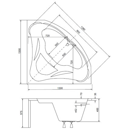 Cada baie de colt Besco Mia 130x130cm, acril