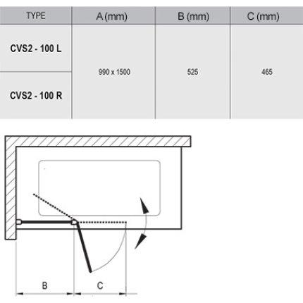 Paravan de cada Ravak CVS2-100 cu un element fix si unul mobil, dreapta, crom lucios