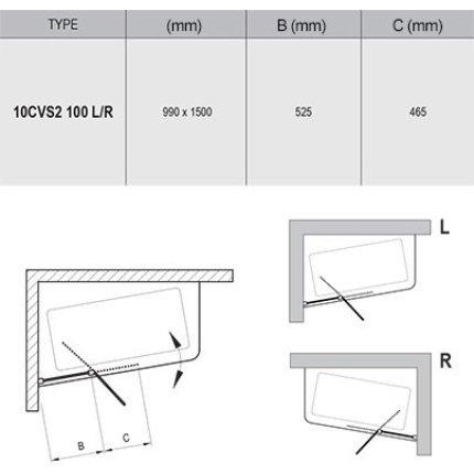 Paravan cada Ravak 10CVS2-100 cu element fix si element mobil, dreapta, alb