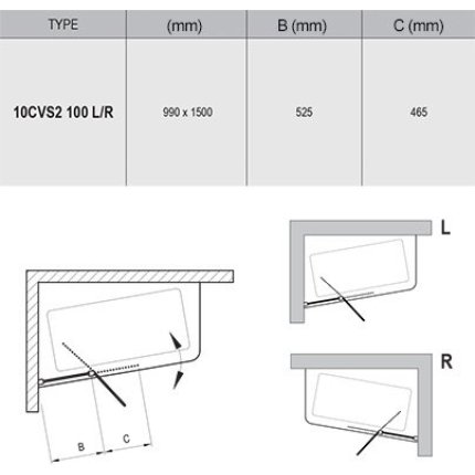 Paravan cada Ravak 10CVS2-100 cu element fix si element mobil, stanga, alb