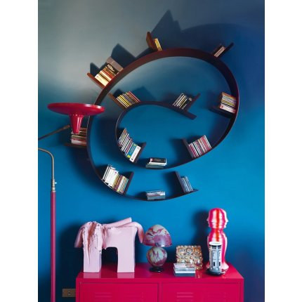 Biblioteca Kartell Bookworm, design Ron Arad, 17 rafturi, 820cm, negru-auriu