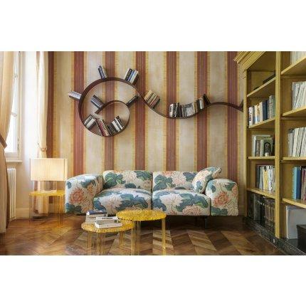 Biblioteca Kartell Bookworm, design Ron Arad, 7 rafturi, 320cm, negru-auriu