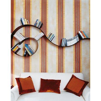 Biblioteca Kartell Bookworm, design Ron Arad, 11 rafturi, 520cm, negru-auriu