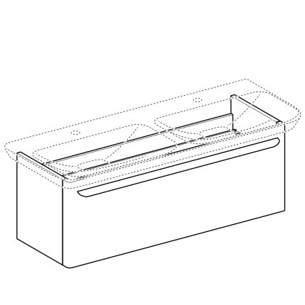 Dulap baza pentru lavoar dublu Geberit myDay 116cm cu un sertar, taupe lucios