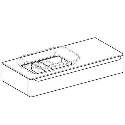 Dulap baza pentru lavoar tip bol Geberit myDay 115cm cu un sertar, orientare stanga, taupe lucios