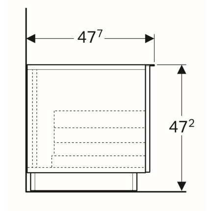 Dulap pe pardoseala Geberit iCon 89x47.2x47.7cm cu un sertar, stejar