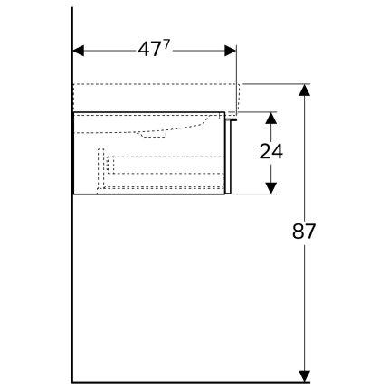 Dulap baza Geberit iCon 120cm cu doua sertare, alb mat