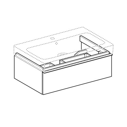 Dulap baza Geberit iCon 74cm cu un sertar, negru lava mat