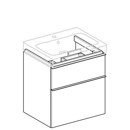 Dulap baza Geberit iCon 59.5cm cu doua sertare, alb mat