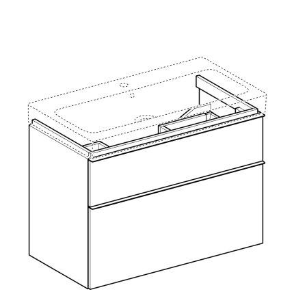 Dulap baza Geberit iCon 89cm cu doua sertare, negru lava mat