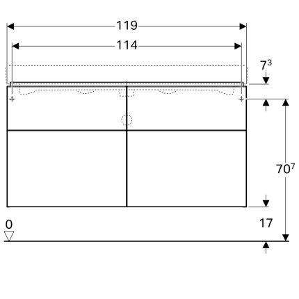 Dulap baza Geberit iCon 120cm cu patru sertare, negru lava mat